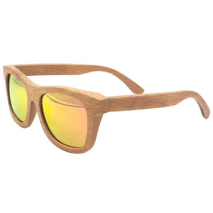 Gafas de sol de madera hecho a mano 100% de bambú polarizada lente Reg