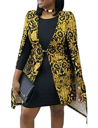Women's Oversize Tie Front Ethnic Graphic Formal Cape Blazer Golden Open Front Evening Cloak - Ethnic Graphic
