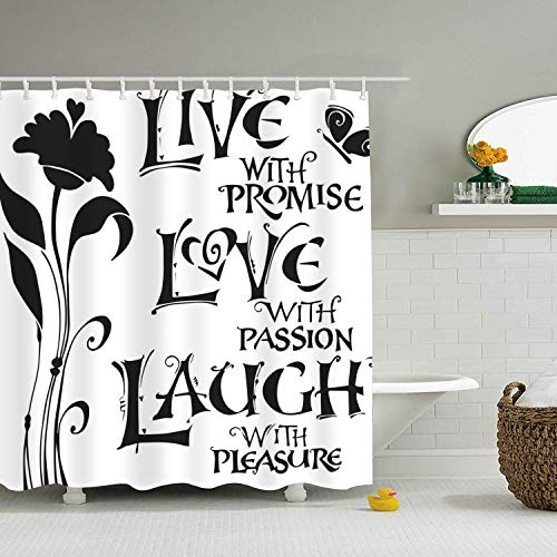 Dreamting Art Live Love Laugh Shower Curtain Set Thick Polyester Fabric Mildew Mold Resistant
