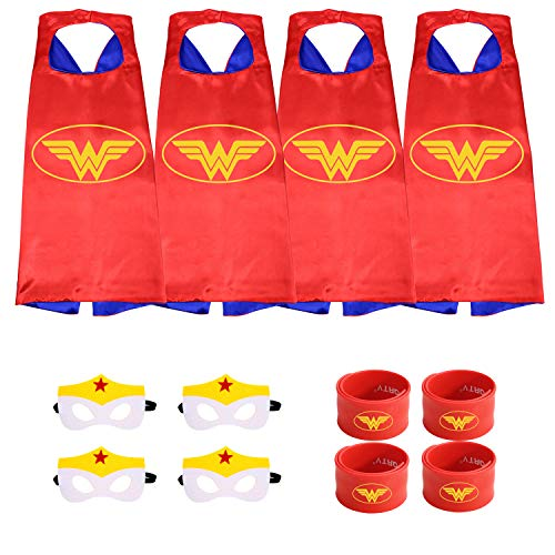 Munfa Superheros Cape and Mask Costumes 4 Set Includes Bonus Matching Wristbands for Kids (Multicolored) (Multicolored) (Girl, Wonder Woman) -