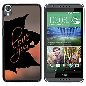 ROKK CASES / HTC Desire 820 / LOVE YOU LEAF / Delgado Negro Plástico caso cubierta Shell Armor Funda Case Cover
