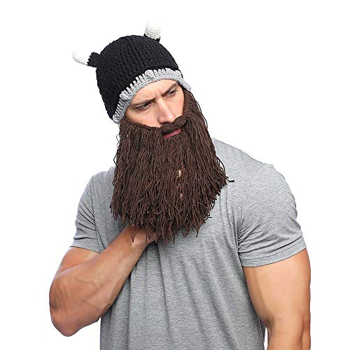 Xinqiao Mens Viking Barbarian Beard Beanie Funny Pillager Knitted Horned Hats (Brown Beard) ()