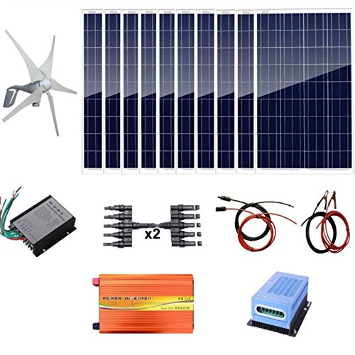 AUECOOR 1400W Hybrid System Kit: 400W Wind Turbine & 10100W Poly Solar Panel+ 3000W Pure Since Wave Inverter(Peak 6000W) +Accessories for Home Use ()