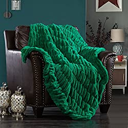 "Chic Home Miera Throw Blanket Cozy Super Soft Ultra Plush Decorative Shaggy Faux Fur with Micromink Backing 50"" x 60"", Green"