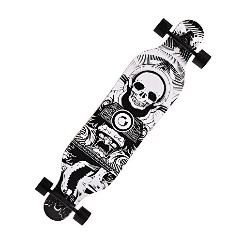 41 Inch Professional Adult Kids Wood Print Longboard Drop Downhill Speed Cruiser Complete Skateboard (US Stock) (Skull Print)