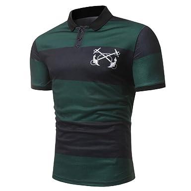 Kanpola Poloshirt Shirt Herren Slim Fit T-Shirt Polohemden Streifenshirt  Männer Streifen Kurzarm Polo Shirts 43624e5dac