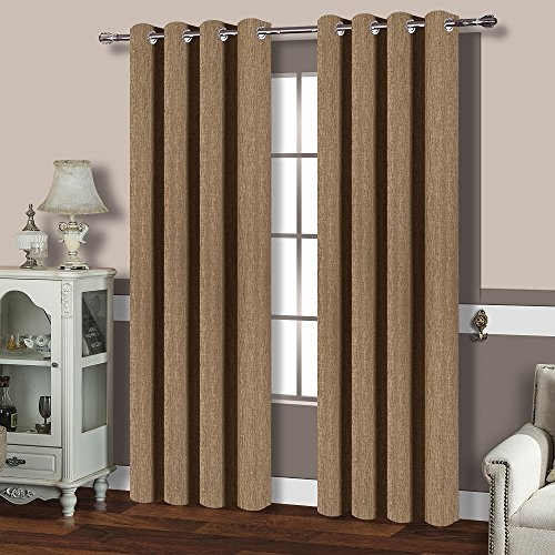 BEST DREAMCITY Blackout Faux Linen Curtains For Bedroom Camel52 W X 84 LSet Of 2