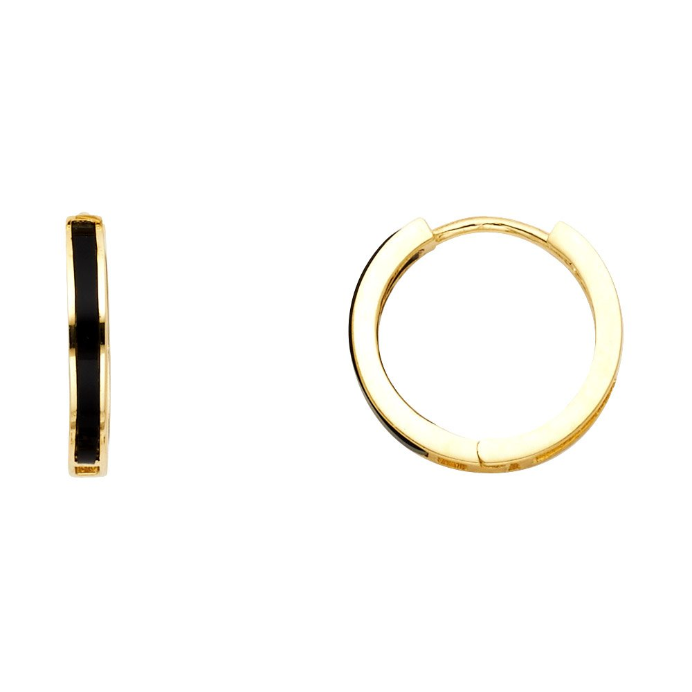 Wellingsale Ladies 14k Yellow Gold Polished 2mm Onyx Huggies Hoop Earrings (15mm Diameter)