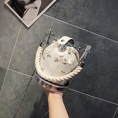 de Bolsa Cuadrada Mujer Tendencia Contraste impresión Bolso Bolsa Transparente Retro Color Carta de Costura de Lentejuela Paquete láser pequeña gelatina HE0wnn5vq