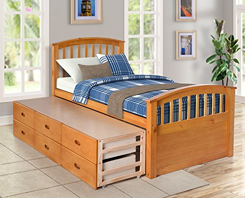 Merax Twin Size Platform Storage Bed Solid Wood Bed with 6 Drawers (Natural)