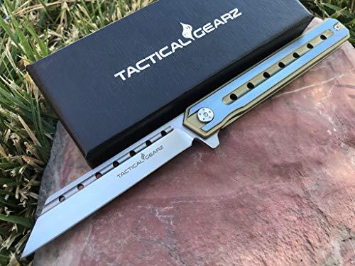 TG Onyx, Tc4 Titanium Handle! Premium EDC Folding Knife w/Sheath! Polished D2 Steel Tanto Blade, Ball Bearing Pivot System! (Gold/Blue) (Ball Blue Bearing)