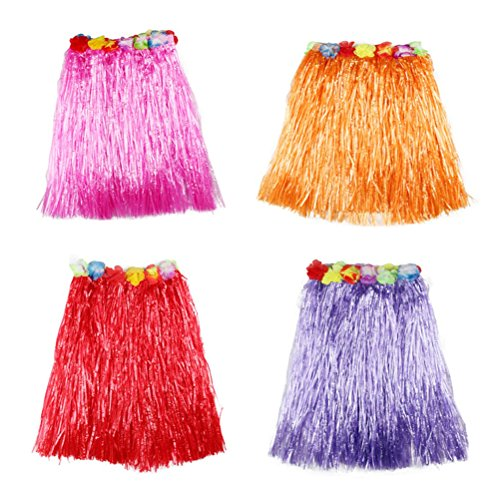 TOYMYTOY Hawaiian Dance Skirts 40cm Length Luau Hula Skirts for Kids, Beach Campfire Party Supplies - Set of 4 Pieces (Purple, Rose Red, Red, Orange) by TOYMYTOY