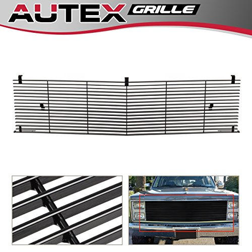 (AUTEX Aluminum Main Upper Billet Grille Insert Compatible With 1981-1988 Chevy Blazer/C/K Pickup/Suburban/GMC Jimmy Grill C85002H)