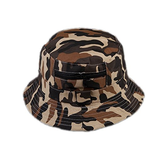 MSMIRROR 2Color Military Camouflage Bucket Hats Camo Fisherman Hats With Wide Brim Dark khaki 56-58cm