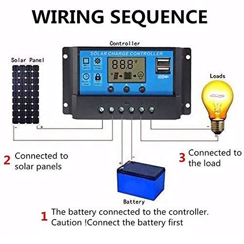 12V / 24V Solarpanel Laderegler Batterieregler USB LCD Solar Ladesystem Controller Mit Timer Lichtsensor - Schwarz
