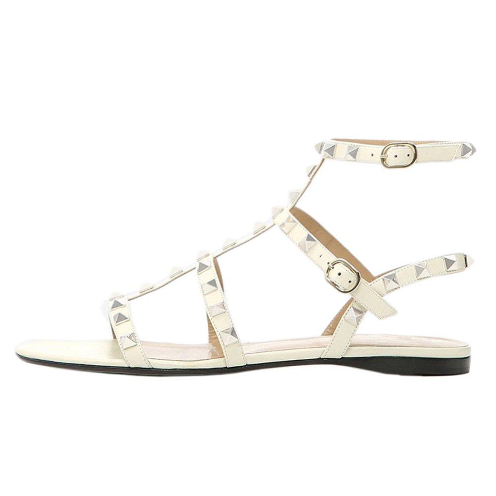 VOCOSI Women's Flats Sandals,Rivets Studs Ankle Strap Strappy Summer Sandals Shoes B072JWBLBT 11 B(M) US|White