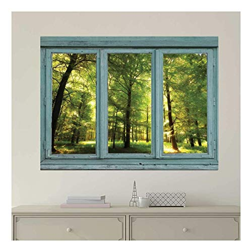 Vintage Teal Window Looking Out Into a Green Forest and Sun Rays Peeking Through Wall Mural