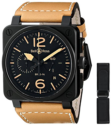 Bell & Ross Men's BR03-94-HERITAGE Avation Watch with Beige Leather Strap
