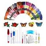 138 Pcs Magic Embroidery Pen Punch Needle, Embroidery Pen Set, Embroidery Patterns Punch Needle Kit Craft Tool, Including 100 Color Threads for DIY Threaders Sewing Knitting