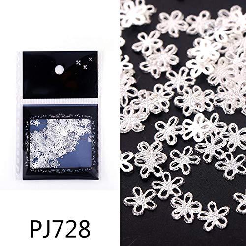 Gold Silver Copper 100Pcs/Pack Metal Hollow Studs Nails Scrub Design Charms Manicure 3D Nail Art Decorations,PJ728-100Pcs