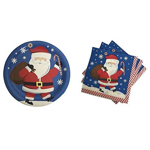 Santa Claus Paper Plates and Napkins Service for 18