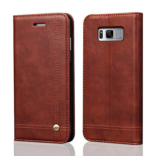 Galaxy S8 Case, Galaxy S8 Wallet Case, [Magnetic Closure] PU Leather Flip Protective Cover with Kick Stand Function Cash/Card Slot Folio Case for Samsung Galaxy S8 - Dark Brown