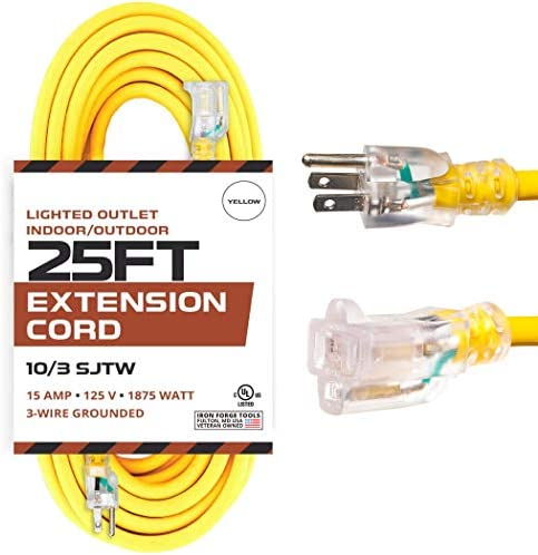 25 Foot Lighted Outdoor Extension Cord – 10/3 SJTW Yellow 10 Gauge Extension Cable with 3 Prong Grounded Plug for Safety – Great for Garden and Major Appliances
