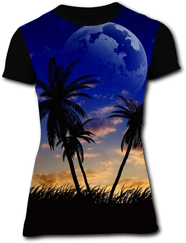 Gujigur Womens T Shirt Creative Hawaiian Night Summer Casual Short Sleeve Tee Creative 3D Printed Hipster Design