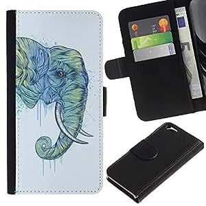 """Apple (4.7 inches!!!) iPhone 6 , la tarjeta de Crédito Slots PU Funda de cuero Monedero caso cubierta de piel ("""" Elephant Trunk Art Painting Wild Animal"""")"""