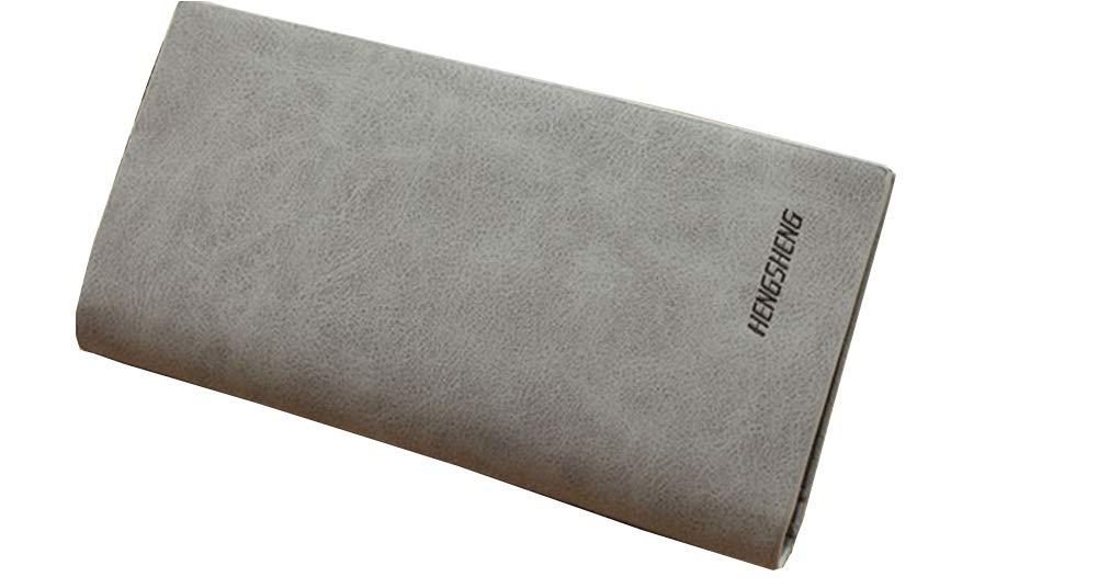 Luxury Men Travel Slim PU Leather Credit Card Holder Wallet Long Purse Male Clutch Bag(Grey)
