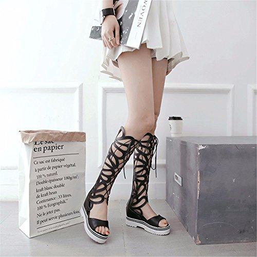 mujer tamaño de botas zapatos tambor cilindro sandalias alta altas gran de de del botas de del soles pesado delantero estudiante Hueco encajes black frío WqZ0BawtTx