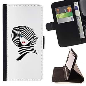 ForSamsung Galaxy S3 MINI i8190 (NOT S3) Case , White Lady Black Lips Elegantes- la tarjeta de Crédito Slots PU Funda de cuero Monedero caso cubierta de piel