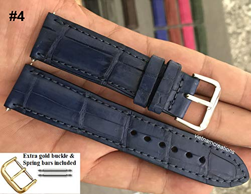22mm Genuine CROCODILE/ALLIGATOR Skin Leather Watch Strap Band for men Handmade (22mm, 04 Navy Blue)