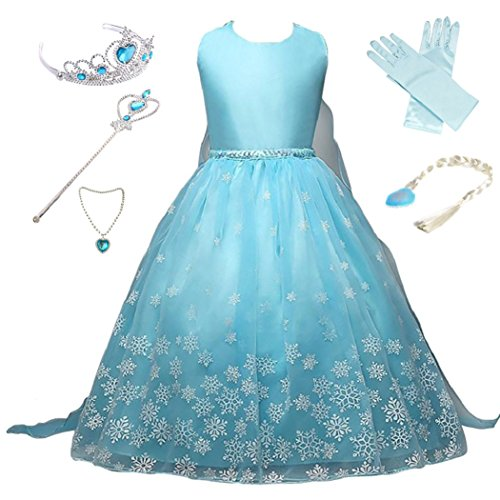 Anbelarui Girls New Princess Party Cosplay Costume Long Dress Up 3-9 Years (3-4 Years, 05 Dress&Accessories ()