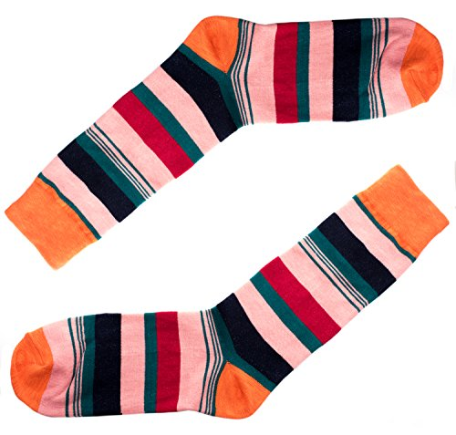 Colorful Mens Funny Dress Socks - Striped Orange, Pink, Red, Blue, Green Cool Men -