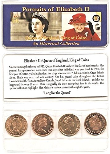 Queen Elizabeth II 4 COIN SET ,UNCIRCULATED,With Holder,