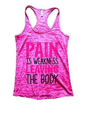 Funny Threadz Womens Burnout Tank Top Pain is Weakness Leaving The Body Gym Shirt