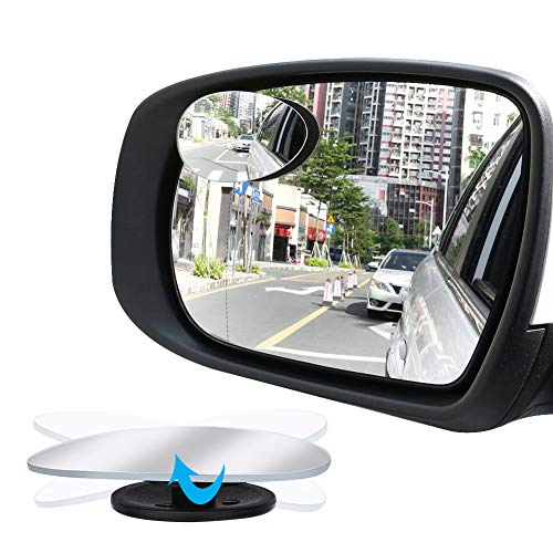 Manfiter Blind Spot Mirror,Oval Convex Lens HD Glass Adjustable for All Universal Vehicles Car Stick-on 2 Pcs