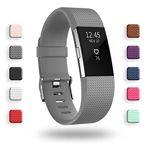 POY Replacement Bands Compatible for Fitbit Charge 2, Classic Edition Adjustable Sport Wristbands, Small Gray