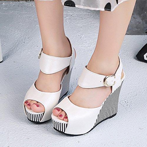 Slope Modelos de Moda Pescado tac Sandalias Zapatos de de de Plataforma Mujer Hebilla Boca Impermeable Verano 7xdyHEETqw