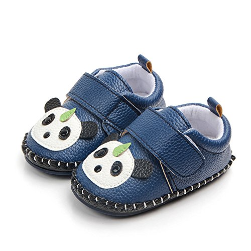 PanGa Baby Boys Girls Non-Slip Hard Bottom Rubber Sole Slippers Pu Leather Cartoon Sneakers Toddler Infant First Walkers Crib Shoes (6-12 Months M US Infant, A-Blue-Panda)