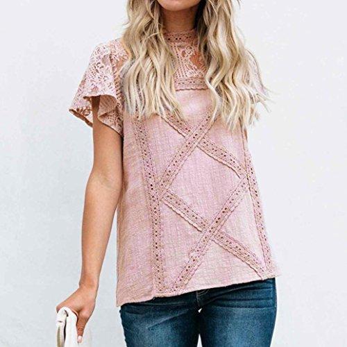 Femme Rose T Shirt Tops Haut Chemisier Chic Taille Sexy LGante Court Blouse Manches Dentelle Patchwork Grande raZqr7x