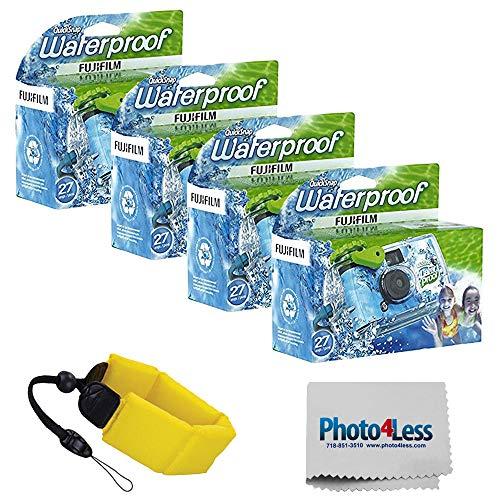 Fujifilm Quick Snap Waterproof 35mm Single Use Camera 4 Pack + General Brand Floating Foam Strap (Yellow)