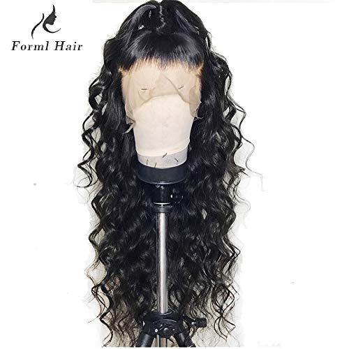 Formal hair Loose Curly Wave Full Lace Human Hair Wigs-Glueless 130% Density Brazilian Virgin Remy Wigs with Baby Hair For Black Woman 16 inch, Natural Color