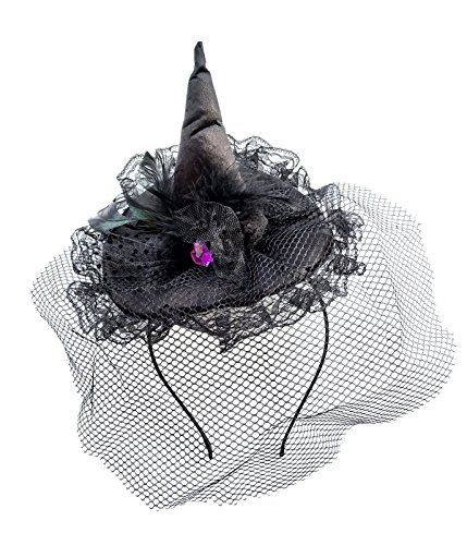 Halloween Witch Mini Top Hat Veil Headband Hair Clip Costume Dress Up Party (C Lace Veil Feather Black)