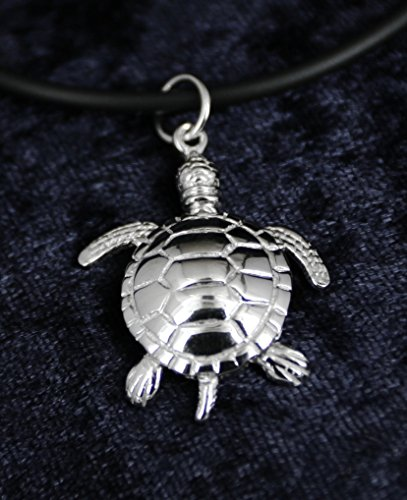 - Sterling Silver Rhodium Plated 3D Turtle with Flexible Moveable Head, Tail, Arms and Legs Sea life Pendant Necklace ocean marine diver Jewelry