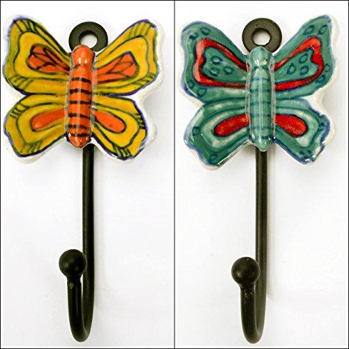 Pair 2 Pcs Metal Cermic Wall Door Coat Hangers Hooks Butterfly Theme Heavy Duty 4.5