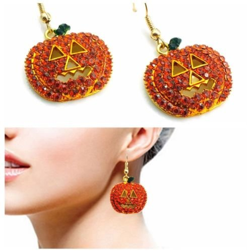 Jaywine2 New Women Pumpkin Crystal Rhinestone Ear Stud Earrings Halloween Jewelry (Pumpkin Rhinestones)