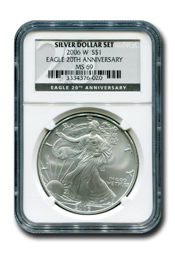 2006 No Mint Mark American Silver Eagle Dollar NGC MS-69