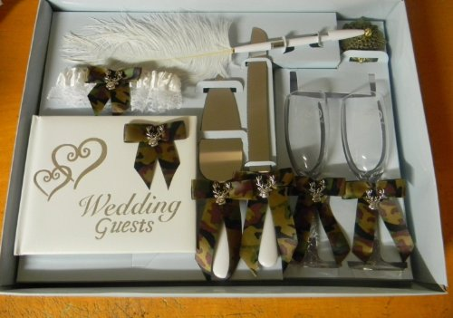 Wedding Camo Deer Hunter Hunting guest book Pen Cake Knife 8 psc -